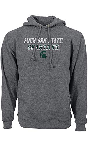 Levelwear NCAA College Michigan State Spartans Slant Route Hoody Football Basketball Hooded Sweater Kaputzenpullover (L)