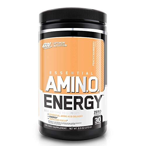 Optimum Nutrition Amino Energy Pre Workout Powder Keto Friendly with Beta Alanine, Caffeine, Amino Acids and Vitamin C, Peach Cranberry, 30 Servings, 270 g