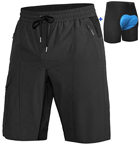Cycorld MTB Hose Herren Radhose, MTB Shorts Atmungsaktiv Farradhose Hose Herren Outdoor Bike Shorts 2020 Version (Schwarz mit Unterwäsche, M)