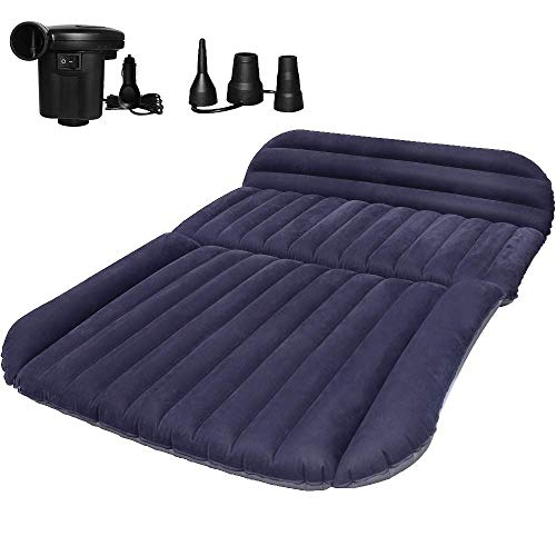 QDH SUV Air Mattress - Thickened Car Bed Back Seat Mattress - Portable Car Mattress for Vehicle Cushion Air Bed Inflatable Mattress Car Bed with Air-Pump - Camping Blow Up Mattress for SUV