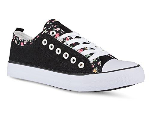 Twisted Damen KIX Lo-Top Double Upper Fashion Sneaker, Schwarz (black floral), 39 EU