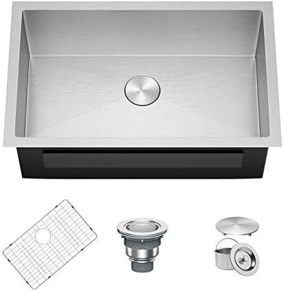 X Home 32 x 19 Inch Undermount Kitchen Sink Single Bowl 16 Gauge Stainless Steel Kitchen Workstation product image