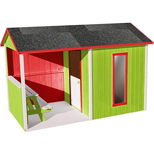 SOULET Spielhaus Cyrielle mit Anbau (Gartenhütte, Holzhaus, Kinderspielhaus für 4 Kinder, Hochwertiges und unbehandeltes Trockenholz Kiefer) 785700