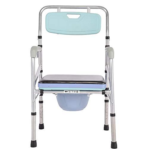 LZW Komfortable Kommode am Bett mit Abnehmbarer Sitzpolsterklappbare tragbare Kommode für ältere Menschen am Bett, höhenverstellbarer behindertengerechter Toilettensitz, Toilettenhocker