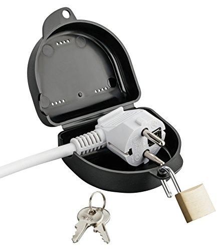 haggiy Steckersafe - Steckerschloss für Stecker - Abschließbare Schutzbox für Stromstecker (Schwarz)