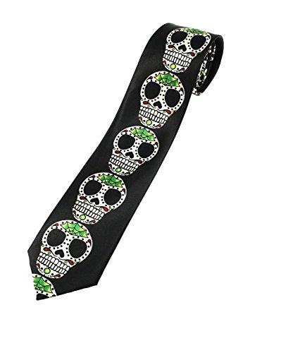 Cravate pour déguisement Zac's Alter Ego® crânes en sucre sur fond noir