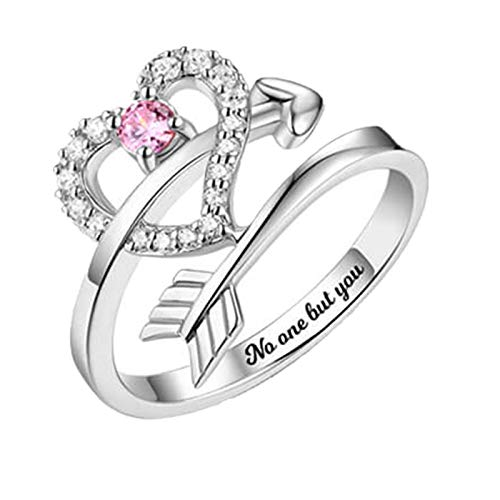 Custom Word Ring Birth Stone Ring Love Heart Ring 925 Sterling Silver Ring Promise Ring Creative Ring(Silver Z 1/2)