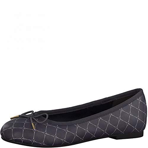 Tamaris Mujer Bailarinas, señora Bailarinas clásicas,Zapatos Planos,Zapatos Bailarinas,Touch It,Zapatos de Verano,Elegantes,Navy/Logo,38 EU / 5 UK
