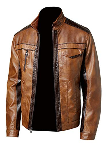 GetYouStyle Wallestic Tan Real Distressed Fashion Designer Leather Jacket for Men