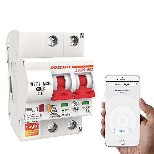 Interruttore Automatico Intelligente Wifi, Funziona con Alexa E Google Home, Controllato da Smart Life/Tuya Smart App, 2 Polo, 25 Amp