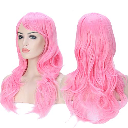 S-noilite Anime Cosplay Wigs Curly Wave Straight Synthetic Halloween Costume Wig (23'-Layered Wavy, Light Pink)