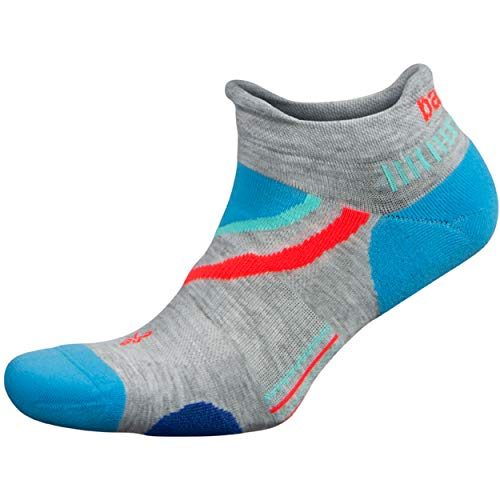 Balega UltraGlide Friction-Free No-Show Running Socks for Men and Women (1 Pair), Mid Grey/Ethereal Blue, Large