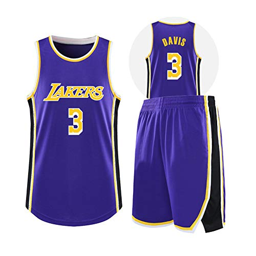 QAZWSX Maglia da Basket da Uomo 3# Anthony Davis Los Angeles Lakers, Canotta da Basket e Pantaloncini Completo da Allenamento da Basket-Purple-XS