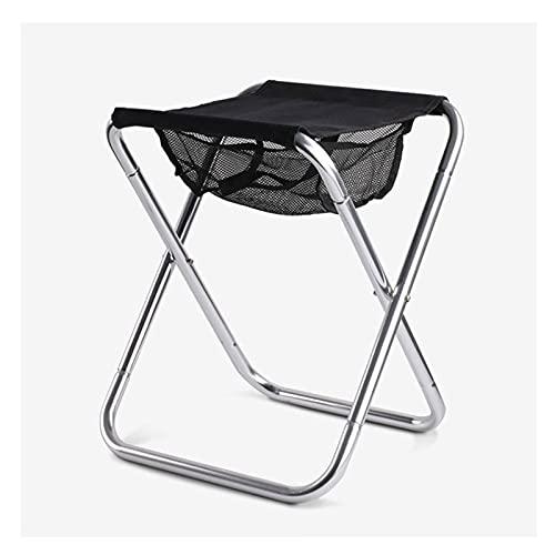WOERD Taburete Plegable Portátil de Aleación de Aluminio Silla de Pesca Asiento Camping Taburete para al Aire Libre, Peso Máximo: 150 Kg, 36 * 31 * 40CM (Negro)