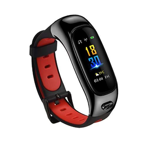Gnaixyc Reloj Inteligente 2 En 1 con Pantalla A Color, Pulsera De Actividad Inteligente con Monitor De Sueño, Podómetro, Contador De Calorías,Rojo
