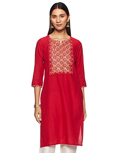 Rangmanch By Pantaloons Women's cotton straight Kurta (110057565_ Red_ Medium)