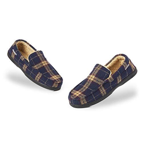 Dunlop Zapatillas Casa Hombre | Pantuflas Estilo Mocasines Cerradas | Zapatillas de Casa Invierno Calientes Suela de Goma Dura | Regalos Originales para Hombre (46 EU, Azul Marino y Mostaza Color)