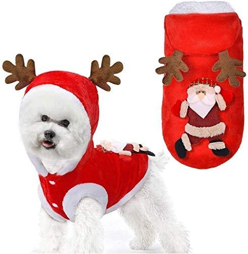 ZZX Felpa con Cappuccio for Cane Cappotto, Babbo Vestiti Cosplay Invernale Autunnale for Animali Domestici di Natale Vestiti del Cane for Il Piccolo Cane (Size : Medium)