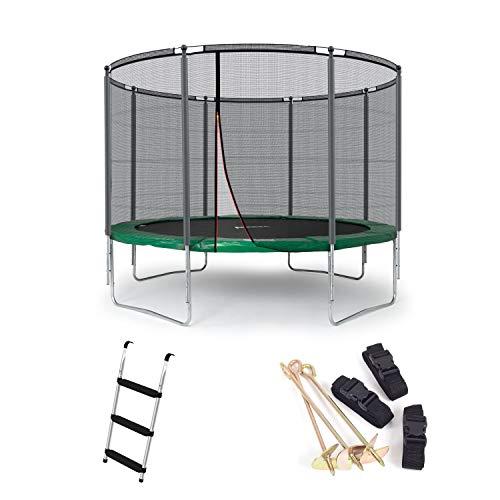 Ampel 24 Outdoor Trampolin 305 cm grün mit außenliegendem Netz, gepolsterten Stangen, Stabilitätsring, Leiter & Windsicherung, Belastbarkeit 150 kg