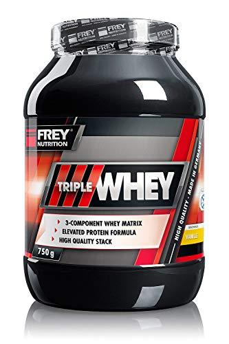 FREY Nutrition TRIPLE WHEY 750g (Vanille) Whey-Protein - Trägt zur Muskelzunahme und zum Muskelerhalt bei - Hoher 30{e58f0e00ee094d34b1908b0adc665fb930f9c81fd220b0eec9724b5dc3c7a16a}iger Isolatanteil - Hoher BCAA-Anteil im Proteinrohstoff (23,8 g) - Made in Germany