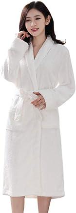 Plush Soft Warm Fleece Bathrobe Robe Bitriddis Womens Fleece Solid Color Robe Long Bathrobe