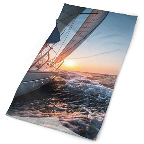 GUUi Headwear Headband Head Scarf Wrap Sweatband,Sail Boat in The Sea Waves Toward Sunset Marine Adventure Hobby Scenery,Sport Headscarves for Men Women