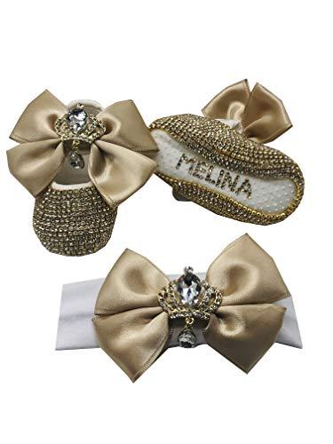 Baby Mädchen Geschenkset - Personalisierte Mädchen Schuhe und Stirnband - Taufe Babyschuhe, Beige - beige - Größe: 33 EU