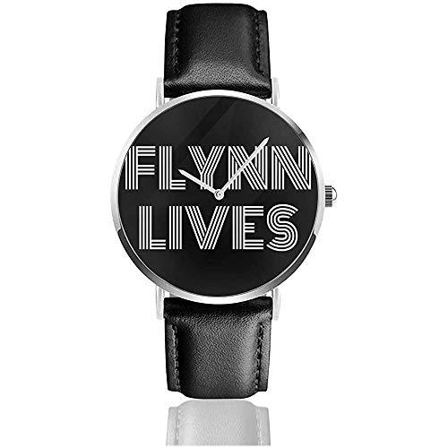 Flynn Lives Tron Legacy, Relojes con Gorra de Camionero Reloj de Cuero de Cuarzo con Correa de Cuero Negra para Regalo de colección