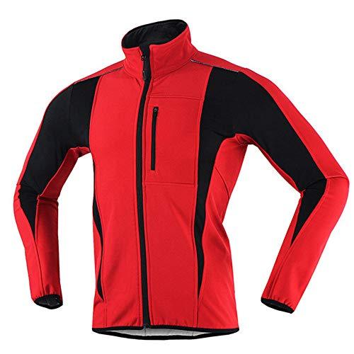 Reflektierende Fahrradjacke für Herren Damen, Softshell Leichte Wasserdichte Laufjacke, Winter Thermo Fleece Atmungsaktiv Winddichte Fahrradbekleidung, für Outdoor, Radfahren und Laufen-Rot XL