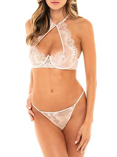 Oh La La Cheri Liliana Bra & Panty Set, XL, Silver Peony