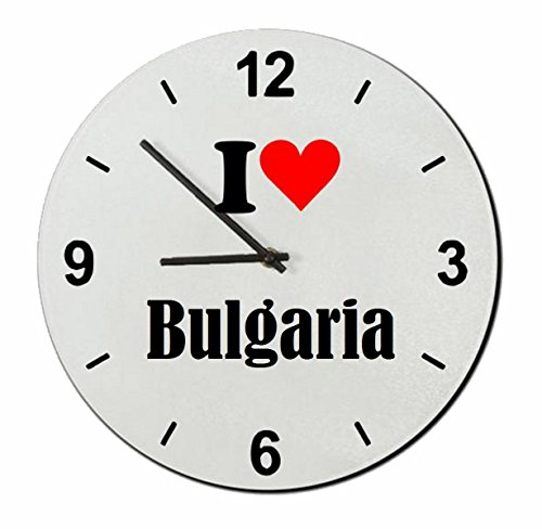 Druckerlebnis24 Glasuhr I Love Bulgaria eine tolle Geschenkidee die von Herzen kommt| Wanduhr| Geschenktipp: Weihnachten Jahrestag Geburtstag Lieblingsmensch