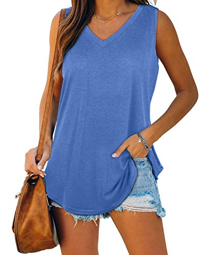 XIEERDUO Tank Tops for Women Summer V Neck Loose Fit Workout Sleeveless Tops Blue 2XL