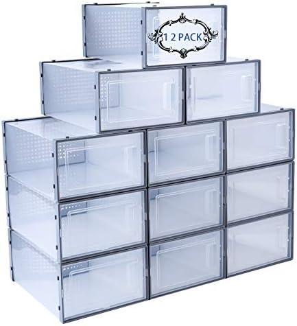 Shoe Storage Box 12 PCS Stackable Shoe Organizer Shoe Box Organizers Shoe Boxes Clear Plastic product image