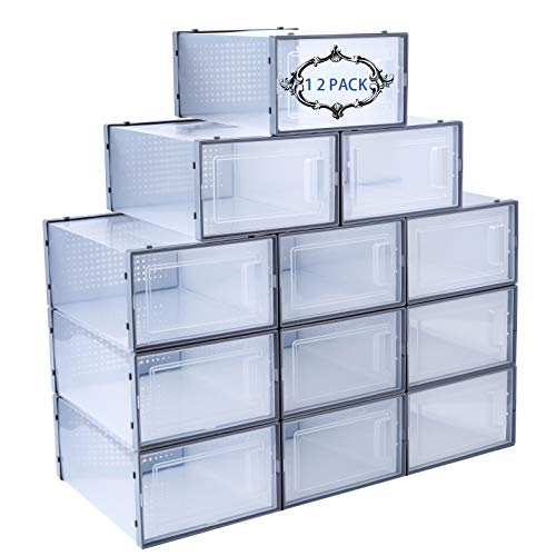 Shoe Storage Box 12 PCS Stackable Shoe Organizer Shoe Box Organizers Shoe Boxes Clear Plastic Stackable Sneaker Storage Shoe Containers with Drop Front