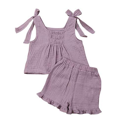 Baby Mädchen Ärmellos Solide Farbe Bogen Tops + Rüschen Kurze Hose Baumwolle Outfit