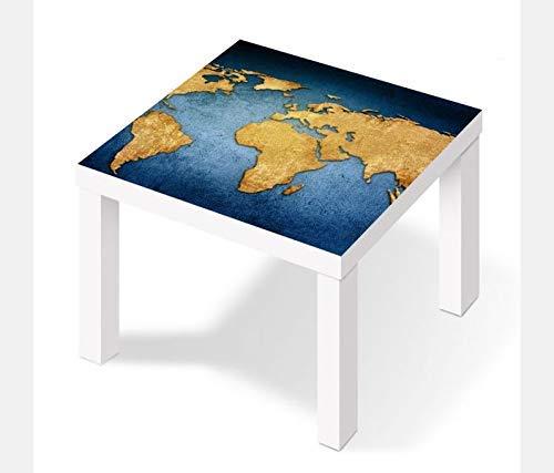 Möbelaufkleber für Ikea Lack Tisch 55x55cm Weltkarte Welt Europa Globus Karte Aufkleber Klebefolie Möbelfolie Folie (Ohne Möbel) 25W2891