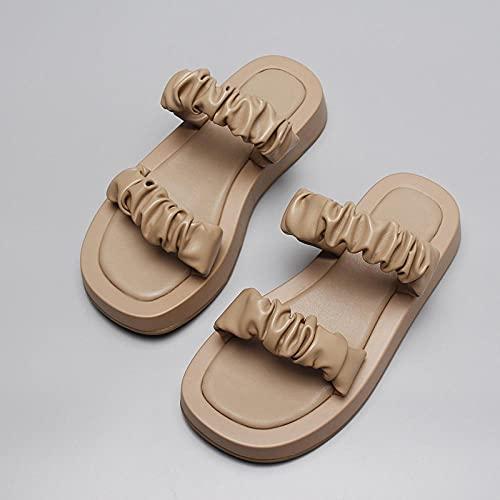 WENHUA Niño Niña Zapatos de Playa y Piscina, Sandalias de cuña y Zapatillas, Chanclas de Moda Casual-Apricot_38, Antideslizantes Chanclas y Sandalias de Piscina