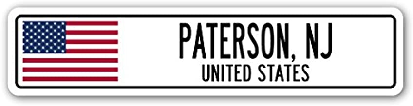 Cortan360 PATERSON, NJ, UNITED STATES Street Sign Decal American flag city country gift 8