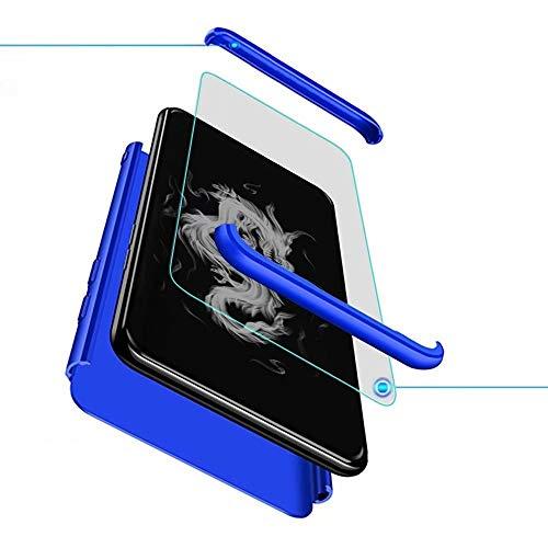XJZ Kompatibel mit Huawei Mate 9 Smartphone Hülle(2017)+3D Panzerglas/Hülle Ultra Dünn 3 in 1 Schutzhülle 360 Grad Stoßfest Case Cover Handyhülle für Huawei Mate 9-Blau