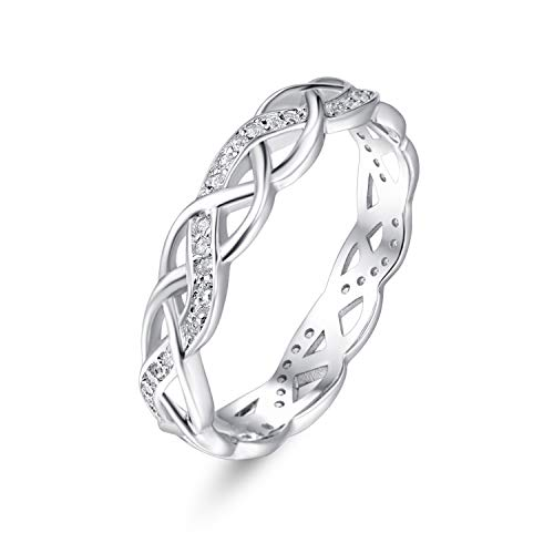 PRAYMOS Celtic Knot Ring Eternity Wedding Engagement Band 925 Sterling Silver Cubic Zirconia CZ for Women Size 7 Stocking Stuffers