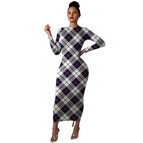 Briskorry kleider damen sexy firmungs Cocktailkleider Beiläufig Mode Plaid Stitching Kleid Lange Ärmel O-Ausschnitt Pullover Kleid Festliches Kleid Abiballkleider Brautjungfernkleider Paket Hip Kleid