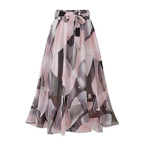 Yyh Rock Chhiffon voor dames, stretch rok, opvouwbaar, met bloemenpatroon, maxirok roze