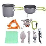 WSCQ Kit de Utensilios de Cocina para Camping, Portátil Juego de Cazuelas de Camping para 1-2 Personas Utensilios Cocina Camping Kit para Picnic Senderismo Barbacoa,Verde