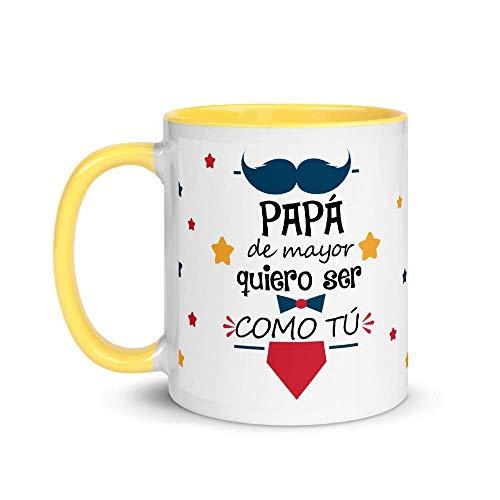 Kembilove Taza de Café Papá de Mayor Quiero ser como Tú – Taza de Desayuno para Regalar el día del Padre – Tazas de Café y Té para Papá – Taza de Cerámica de 350 ml en Amarillo