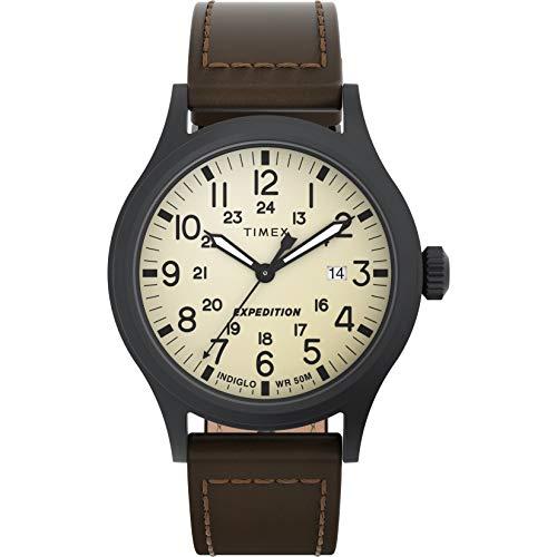 Timex Expedition - Reloj análogico de cuarzo con correa de cuero para hombre, Marrón (Marrón/Beige)