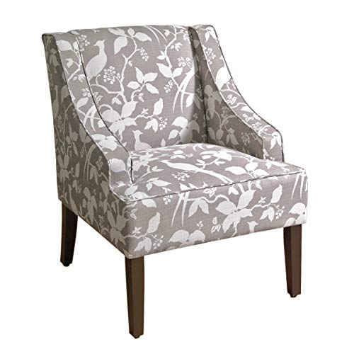 HomePop Swoop Arm Accent Chair, Grey Floral Tree