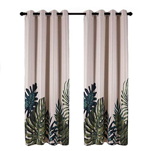 Taisier Home Palm Leaves Print Exotic Style Nature Artwork,2 Panels Fashion Grommet Top Thermal Insulated Room Darkening Curtains,Printing Curtain Leaves(63