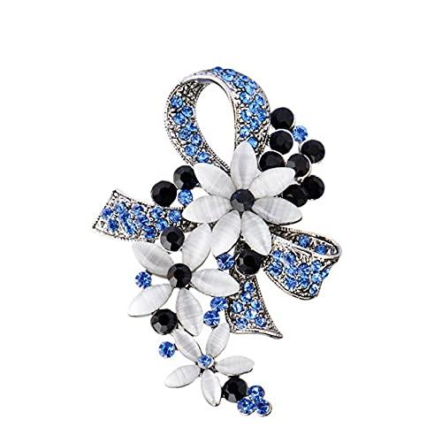 Vintage Antiguo Color Plata Flores Broches Para Mujeres Cristal Completo Con Ópalos Broche Pins Ropa Clips Corsages
