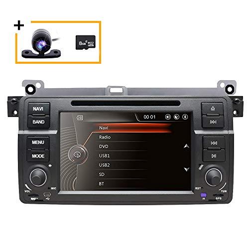Freeauto - Reproductor de DVD multimedia de 7 pulgadas con pantalla táctil HD para radio estéreo de coche con navegación GPS, control de volante CANbus para BMW E46 318 320 325