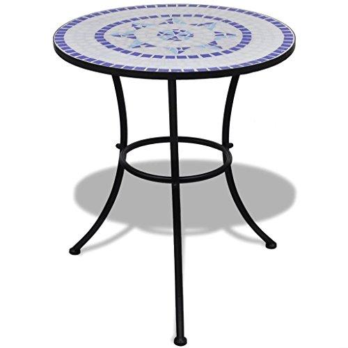 UnfadeMemory Beistelltisch Mosaiktisch Tisch Bistrotisch Kaffeetisch Blumenständer MOSAIK-Design für Balkon oder Garten 60 x 70 cm Keramische Tischplatte und Eisenrahmen (Blau/weiß)